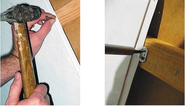 Крепление панелей ПВХ гвоздями в заднюю полку панели и кляммерами
