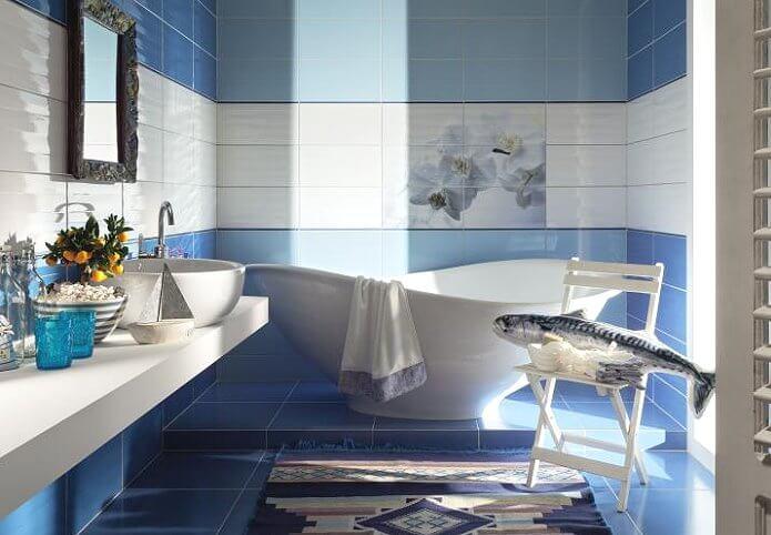 Красивый дизайн ванной комнаты в плитке
