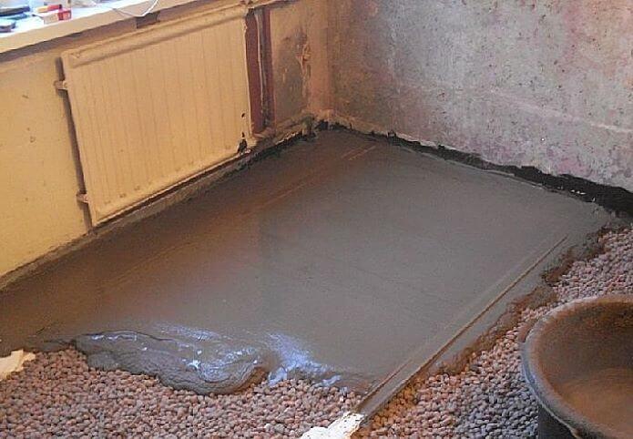 Заливка керамзита бетоном