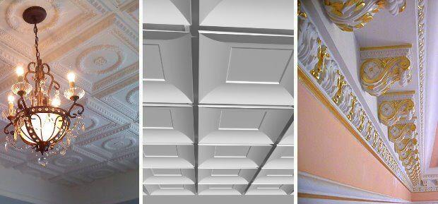 виды гипсовой плитки для потолка