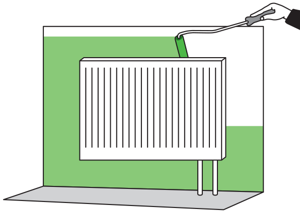 Как красить стены за радиаторами