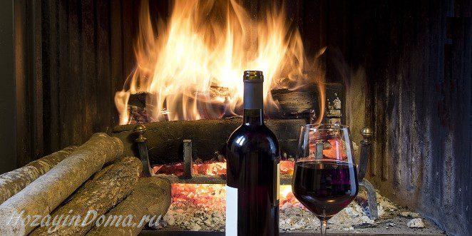 Камин и вино на даче
