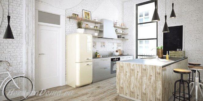 Современная кухня со стеной из белого кирпича