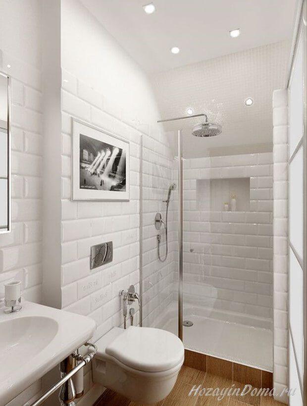 Стена под белый кирпич в ванной